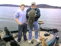 35 lb and 10 oz flathead caught by mistake while bass fishing on the chick, Ryan and Jmax. Silver buddy on 10 lb test line.