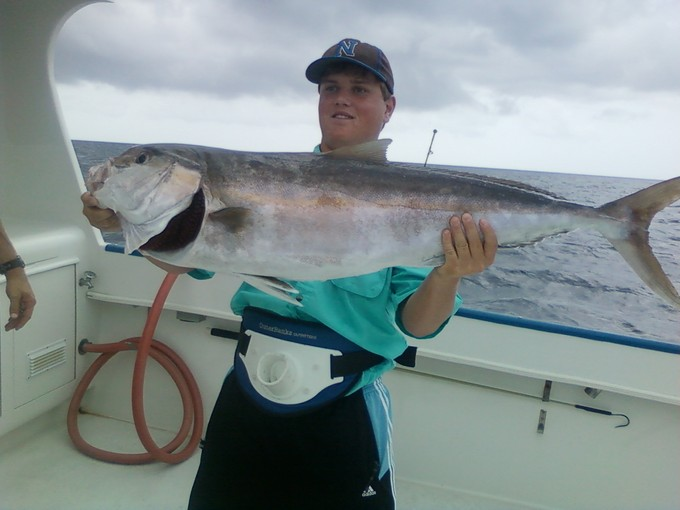 Hunter's first AJ was a good one. Caught aboard the Miss Kelley with Capt. Benji Kelley in Panama City, FL